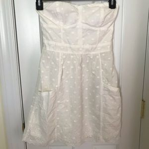 White American eagle strapless dress with pockets